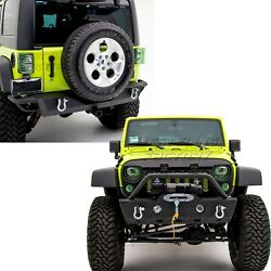 Rock Crawler Stubby Front+rear Bumper+2 Hitch Receiver For 07-18 Jeep Wrangler