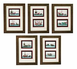 Chinese Pith Paintings Fine Original Set of Ten C. 1830 Junques and Sampans