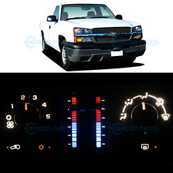 White Climate Heater AC Control Bulb LED Lights for Silverado 1500 No LCD 03-06