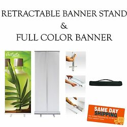 Retractable Pop-Up Banner Stand -INCLUDES PRINT- Free Design - Same Day S