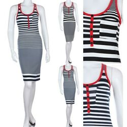 Contrast Trim Striped Midi Sundress with Chest Pocket Buttoned Front Cute S M L $11.99