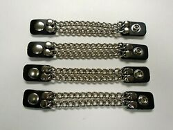 2 row 4 inch chain Extension Black Leather Vest Extender 4-Pcs Set made in UA