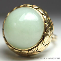 Ming's Hawaii Large Rounded Jade Cabochon 14k Yellow Gold Ring Sz. 5.5