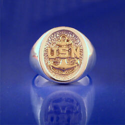 Us Navy Chief Petty Officers Cpo 2 Tone Ring - Sterling Silver And 14k Gold