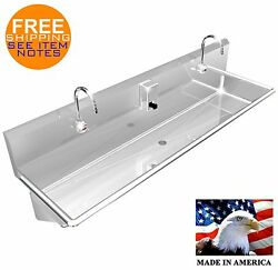 Wash Up Hand Sink 2 Users Multi Station 60 Elec Faucet Stainless Steel 304