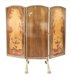 French 19th Century Louis Majorelle Triptych Mirror Hand Beveled Glass