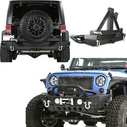 Rock Crawler Front+rear Bumper+tire Carrier+double Plate For 07-17 Jeep Wrangler