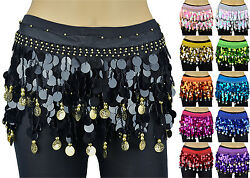 Solid Sequins Beads Belly Dance Hip Scarf Wrap Chiffon Gold Silver Coins