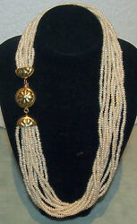 Pearls Necklace 10 String Rows And 18k Gold Beautiful Flower Design Buckle L=17
