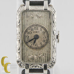 Elgin 14k White Gold Vintage Womenand039s Hand-winding Art Deco Watch W/ Silk Band