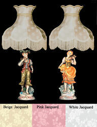 New Capodimonte Country Boy And Girl Lamps W/shades Made In Italy