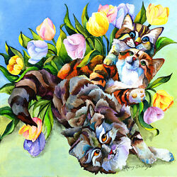 Garden Party Cats And Tulips 12x12 Original Framed Art On Canvas Sherry Shipley