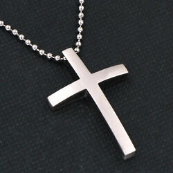 Small Unisex#x27;s Scrub Silver Crucifix Stainless Steel Cross Mens womens Necklace $8.99