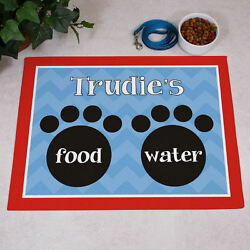 Personalized Food & Water Dog Mat GIFT - Custom Floor Mat with Paw Prints