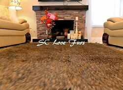 60quot; x 72quot; Designer Brown Coyote Rectangle Furry Shaggy Home Rug Exotic Decor