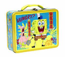Tin Metal Lunch Snack Toy Box Embossed Sponge Bob And Patrick Embossed Hungry New
