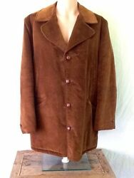 The Man From California Men's Brown Ranch Western Coat 4 Button Vintage Size 44