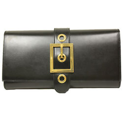 Gucci Lady Buckle Large Black Leather Clutch Bag