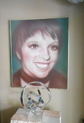 Large Mid-century Oil Painting, Liza Minnelli Portrait, Signed And Dated 1975