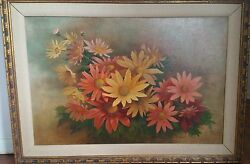 Still Life European Daisy Floral Oil Painting Signed Carolee Allen Date 1977