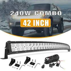240w 42 Curved Spot Flood Combo Led Light Bar Driving Suv Ute Offroad+ Wiring