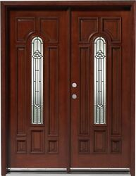 Salesolid Wood Mahogany Front Unit Pre-hung Andfinished Dmh7525-5 Gl02
