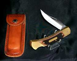 Schrade 7ot Lockback Knife And Sheath Cave Bear Solid Brass Frame Delrin Scales