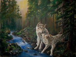 Forest Mates Original 20x24 Wolf Wovles Art Painting On Canvas Sherry Shipley