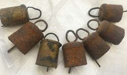 7 Antique Vintage Metal Primitive Cow Goat Sheep Bells Eretz Israel