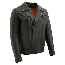 Menand039s Leather Vented Utility Pocket Motorcycle Jacket W/ 2 Gun Pockets Lkm1720