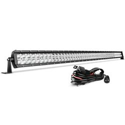 52inch 300w Led Light Bar Offroad Flood Spot Roof Driving Truck Rzr Suv 4wd 54''