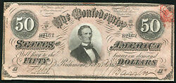 1864 50 Fifty Dollars Csa Confederate States Of America About Uncirculated