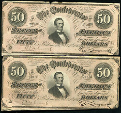 2 Consecutive 1864 50 Fifty Dollars Csa Confederate States Of America