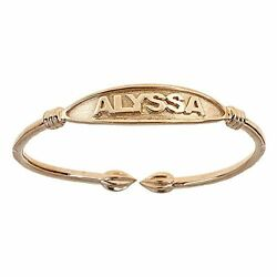 Tulip Ends Name Plate West Indian Bangle 14k Yellow Gold Made In Usa
