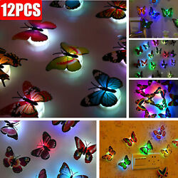 3D Colorful Changing Butterfly LED Night Light Lamp Room Home Party Wall Decor