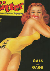Vintage Pin-up Girl Titter A3 Canvas Giclee Print Framed 1