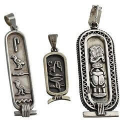 Three 3 Vintage Sterling Silver Egyptian Name Tag Hieroglyphic Writing Pendants