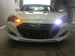 Front Switchbacks Led DRLS Turn Signals White-Yellow For 2010 up Genesis Coupe