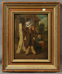 Early 19th Century European Oil Painting Street Scene With A Man Holding Scroll