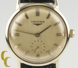 Longines Vintage Classic 14k Gold Menand039s Wrist Watch Leather Hand Wind Working