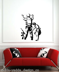WALL Girl Frisking Soldier Wall Vinyl Decal 22quot;w x 28quot;h BLACK