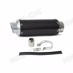 Carbon Fiber CNC Exhaust Muffler Pipe Silver For 125-600CC Street motorcycles