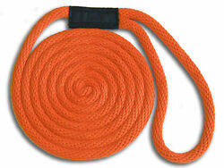 5/8 X 20and039 Solid Braid Dock Lines - Orange - Made In Usa