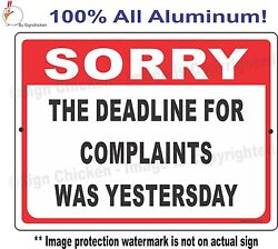 Funny Office Sign Complaints Humor Man Cave Decore Garage Sign Policy