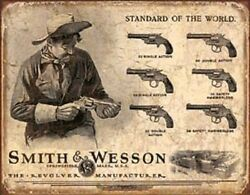 Smith And Wesson Standard Of The World Novelty Tin Sign Vintage Gun Wall Poster