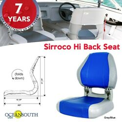 Oceansouth Usa Deluxe Hi Back Boat Seat Folding Gray/blue