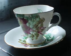 Vintage Clarence Bone China England Fruits Pattern 28/218 Set Cup And Saucer