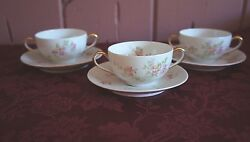 Vtg. Bernardaud And Co. Limoges Double Handle China Cups And Saucers Set Of 3