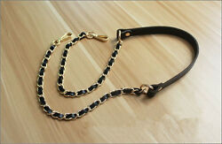Real Leather Chain Purse Strap Crossbody Shoulder Replacement Handbag Bag GOLD $19.99