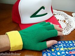 Ash Ketchum Trainer Costume - Pokemon Go Hat And Gloves Set Cosplay